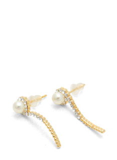 Curved Pearl 'N Jewel Earrings