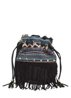 Tribal Tapestry Fringed Bucket Bag