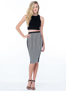 Stripe A Deal Paneled Pencil Skirt