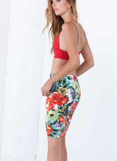 Tropical Weathered Floral Pencil Skirt
