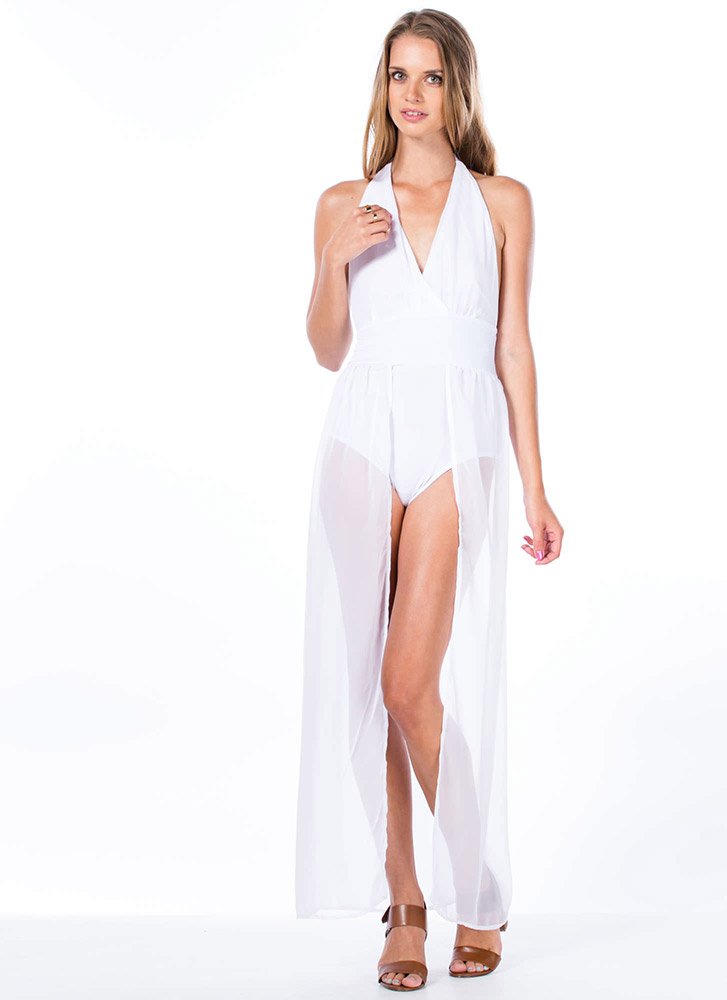 Bodysuit Halter Maxi Dress
