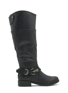 Time 2 Buckle Down Faux Leather Boots