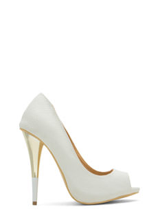 Tip You Off Reptile Scale Peep-Toe Heels