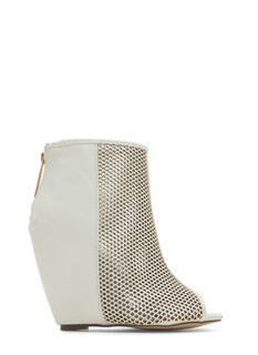 Net Worth Peep-Toe Bootie Wedges