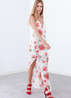 Floral Blooms T-Back Maxi Dress
