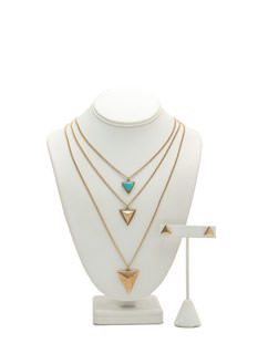 Triple Layer Triangle Charm Necklace Set