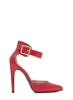 Buckle Up Faux Patent Heels
