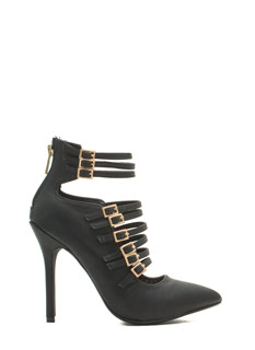 Make It Strap-pen Metallic Buckled Heels