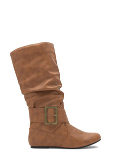 Wraparound Buckled Flat Boots
