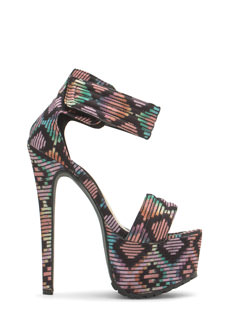 Tribal Take Printed Platform Heels