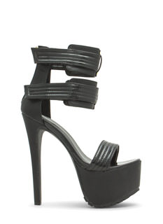 Strappy Stitch Accent Platform Heels