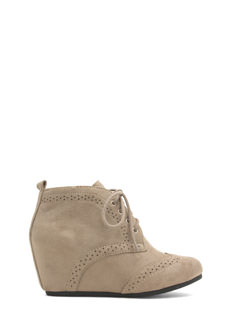 Faux Suede Wingtip Wedge Booties