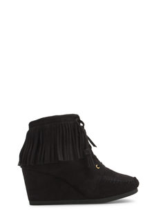 Fringe Zone Moccasin Wedge Booties