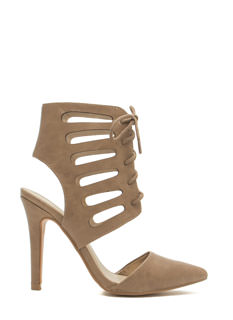 Let's Vent Pointy Lace-Up Cut-Out Heels