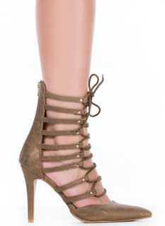 Raising The Bars Strappy Lace-Up Heels