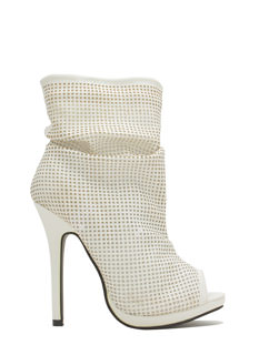 Perforated Squares Slouchy Bootie Heels