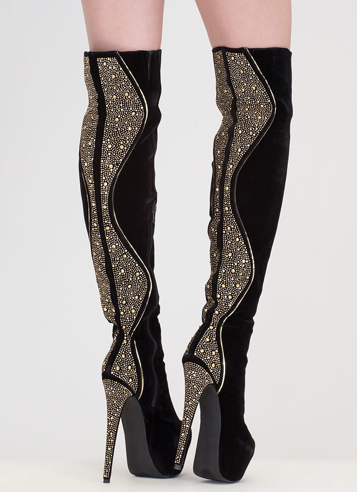 On A Curve Studded Over-The-Knee Boots