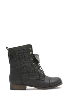Braids Of Glory Faux Leather Combat Boots