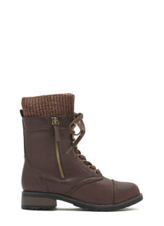 Favorite Sweater Faux Leather Combat Boots