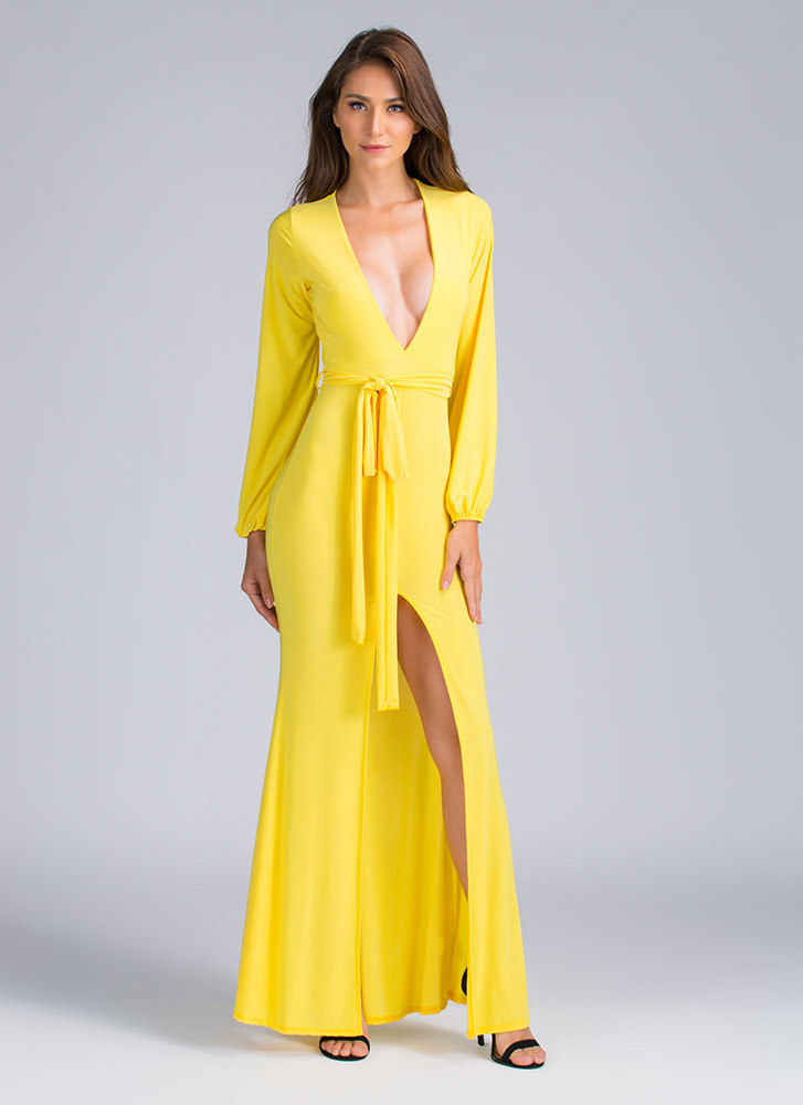 It's A Tie Plunging Bell Sleeve Maxi