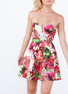 Tropical Sweetheart Strapless Dress