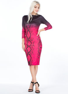 Ombre Snake Print Bodycon Dress
