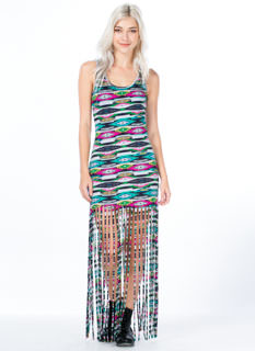 Aztec Print Fringed Maxi Dress