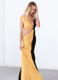 Loves Me Knot Draped Two-Tone Maxi