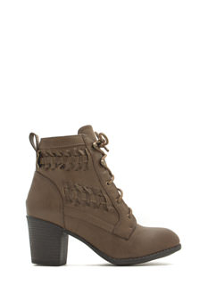 Weave It To Us Lace-Up Booties