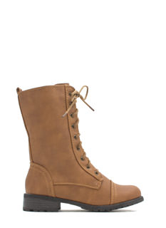 Combat Ready Faux Leather Lace-Up Boots