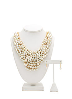Pearly Goddess Bib Necklace Set
