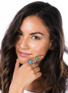 Lattice Stay Together Turquoise Ring Duo
