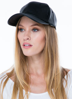 Cap It Off Faux Leather Snapback Hat