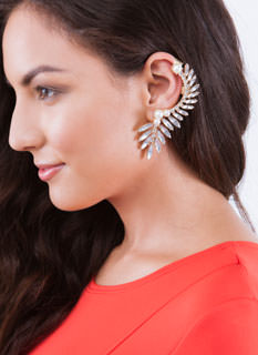Wing It Faux Jewel 'N Faux Pearl Earring Cuff
