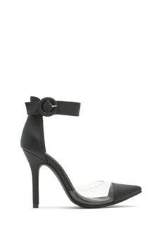 Clear As Day Faux Leather D'Orsay Heels