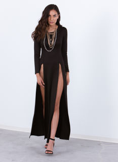 Ultra High Twin Slit Maxi Dress