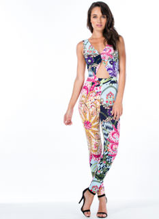 Paisley Glam Cut-Out Jumpsuit