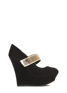 Let's Vent Plated Strap Platform Wedges