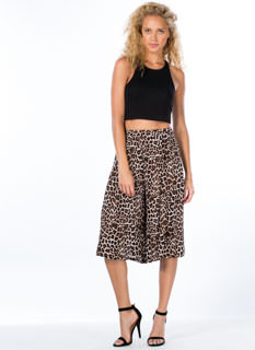 Leaping Leopards Printed Culottes