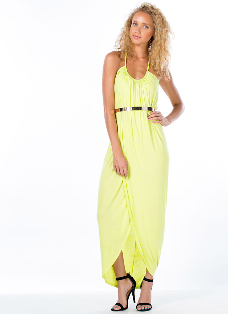 Goddess Draped Tulip Maxi Dress