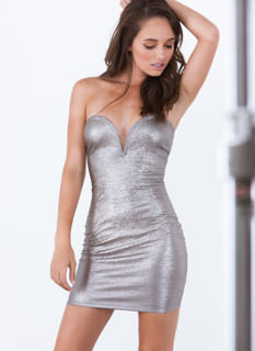 Serpent Chic Metallic Bodycon Dress