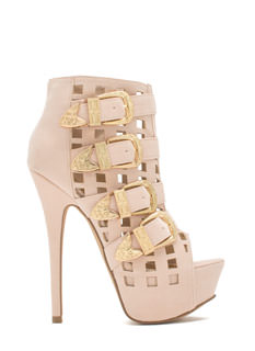 Work The Grid Line Buckled Platform Heels
