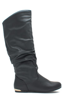 At Your Heels Shiny Accent Slouchy Boots