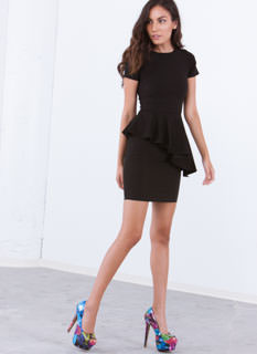 Ruffle Around The Edges Peplum Dress
