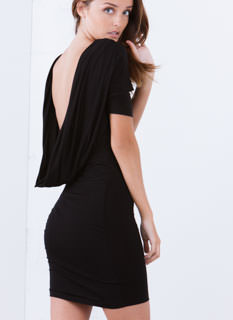 Cowl At The Moon Slit Sleeve Dress