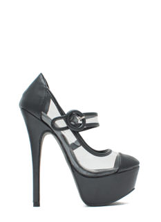 Clearly Mary Jane Round Buckle Platforms