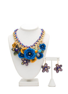 Flower Power Faux Jewel Necklace Set