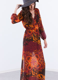 Scroll Through Floral Surplice Maxi