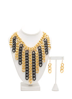 Chain Gang Waterfall Fringe Necklace Set