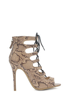 Snake Around Corset Lace-Up Heels